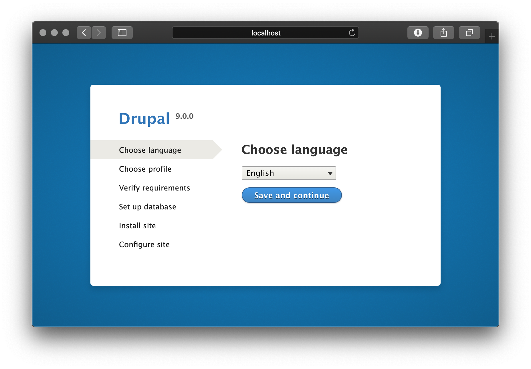 Drupal on Unit - Setup Screen