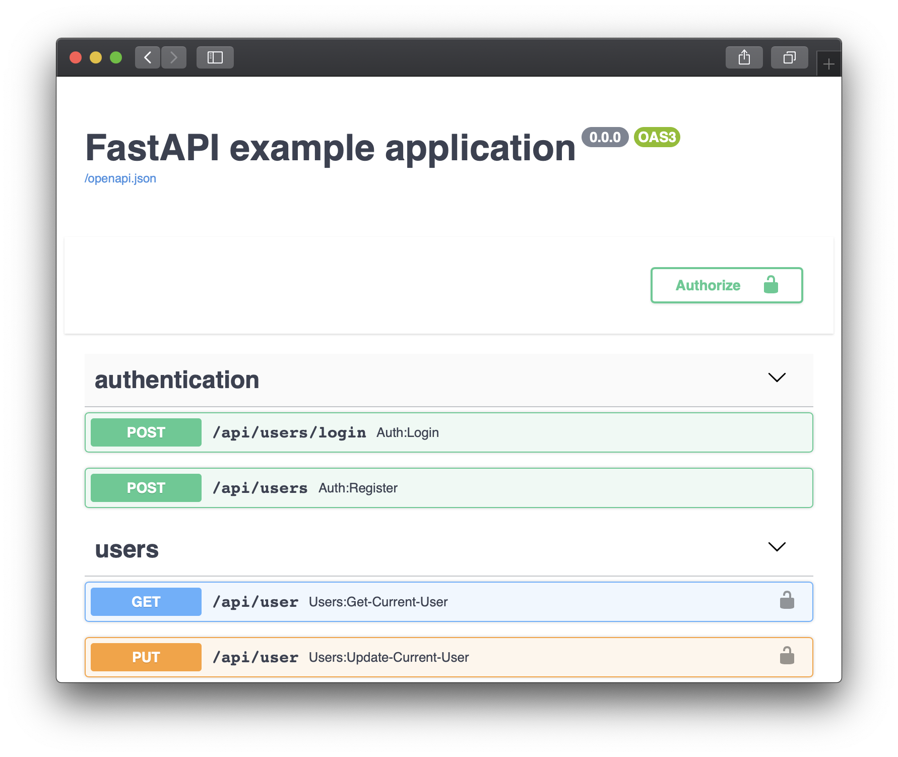 FastAPI in Unit - Swagger Screen