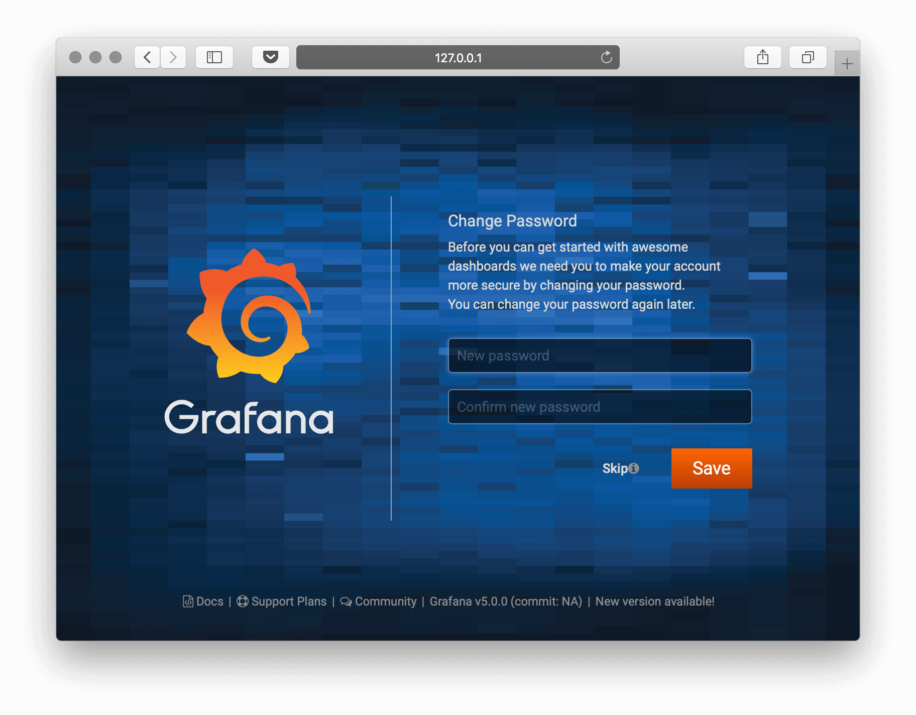 Grafana on Unit - Setup Screen