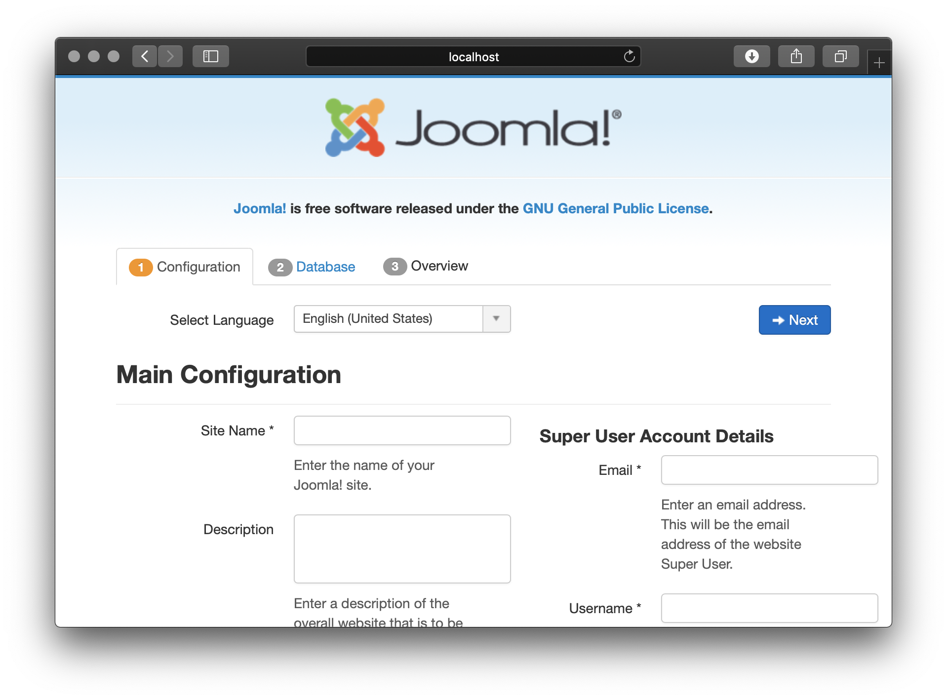 Joomla on Unit - Setup Screen