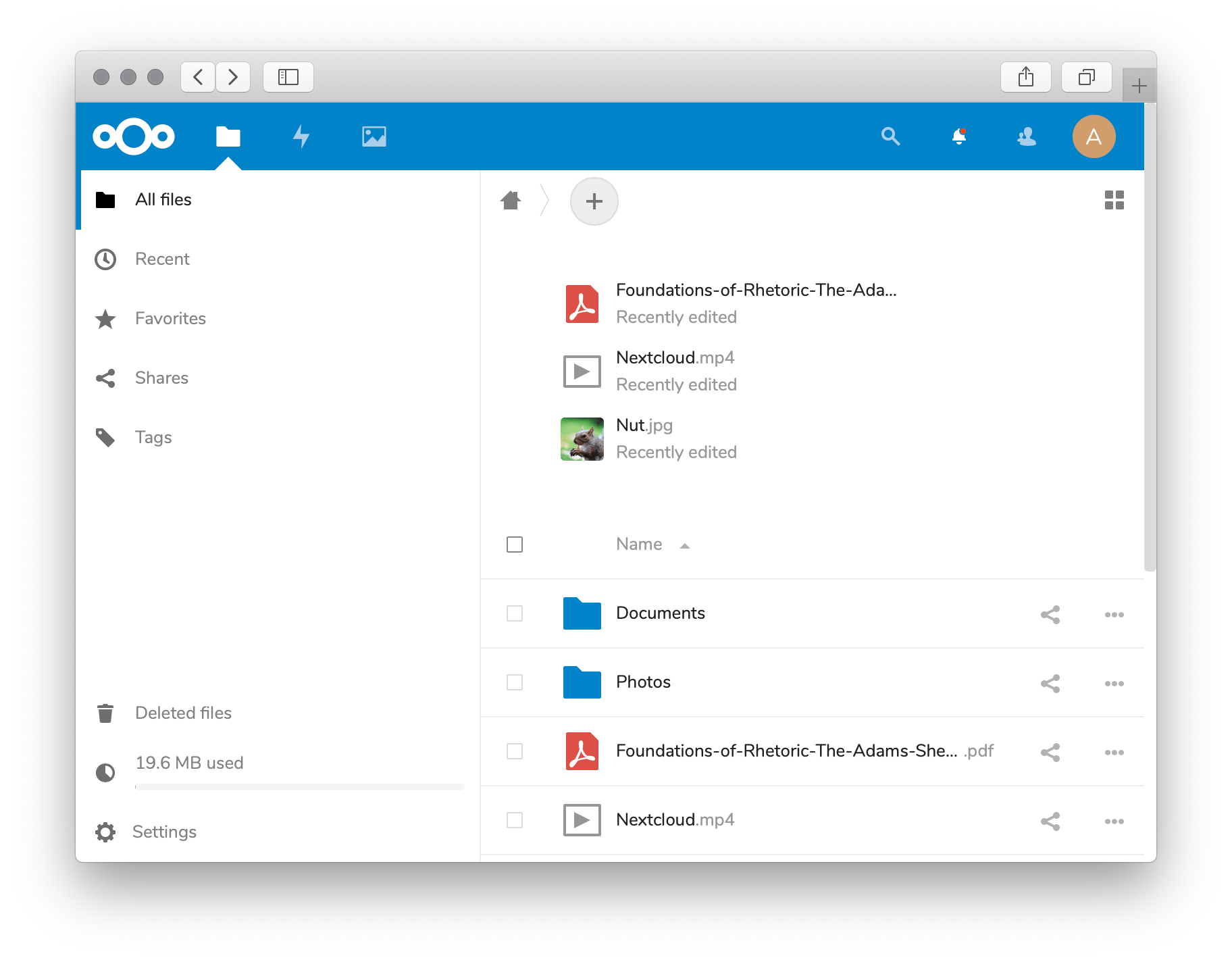 NextCloud in Unit - Home Screen